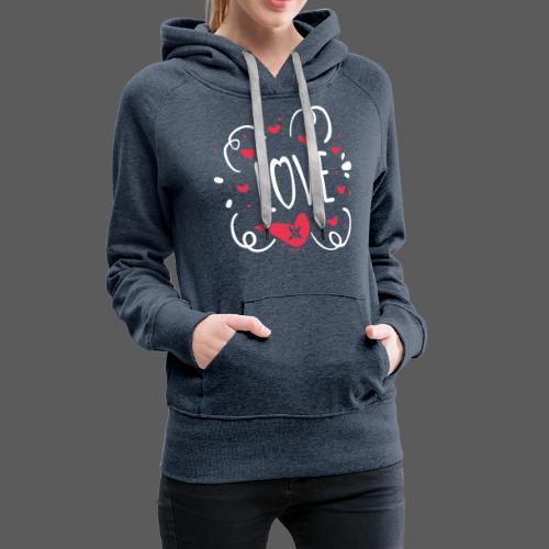Love - Sudadera con capucha premium para mujer