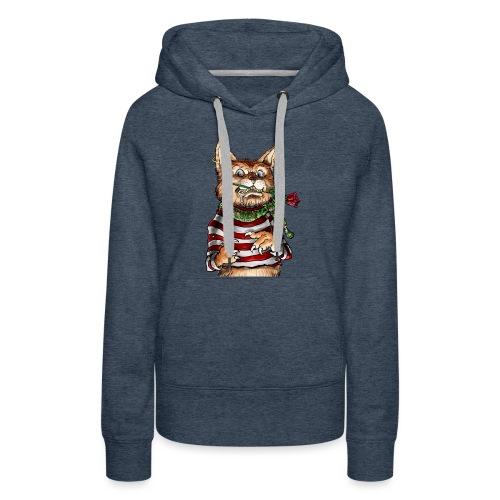 T-shirt - Crazy Cat - Sweat-shirt à capuche Premium pour femmes