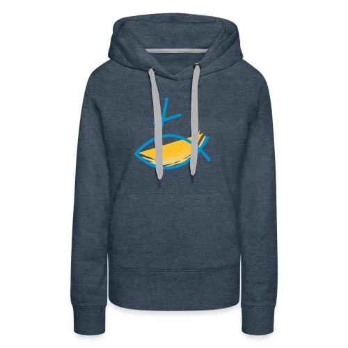 Altkatholischer Logo Fisch Blau/Gelb - Frauen Premium Hoodie
