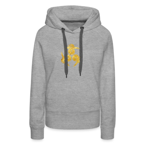 Three Geese Japanese Kamon in gold - Women's Premium Hoodie