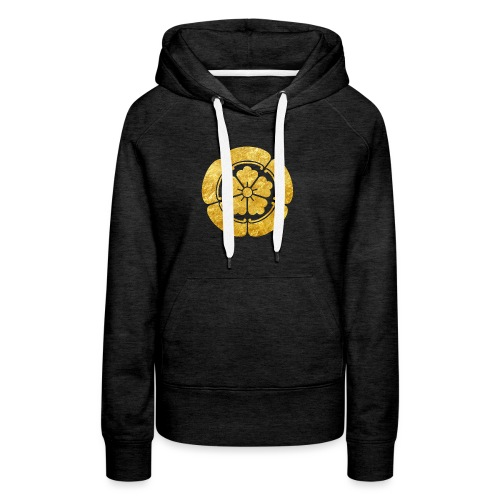 Oda Mon Japanese samurai clan faux gold on black - Women's Premium Hoodie