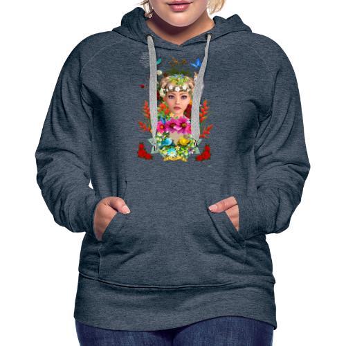 Lady spring by t-shirt chic et choc (dark & black) - Sweat-shirt à capuche Premium pour femmes