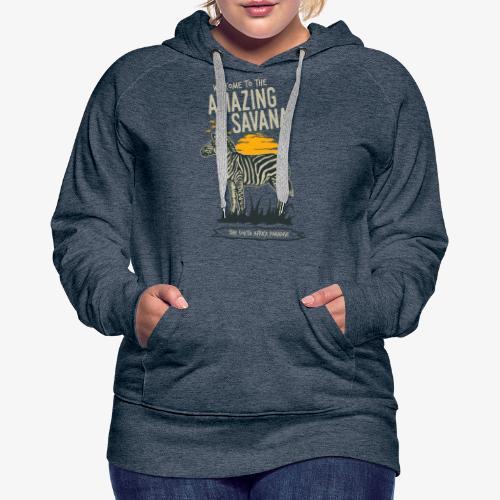 Zèbre - Sweat-shirt à capuche Premium pour femmes