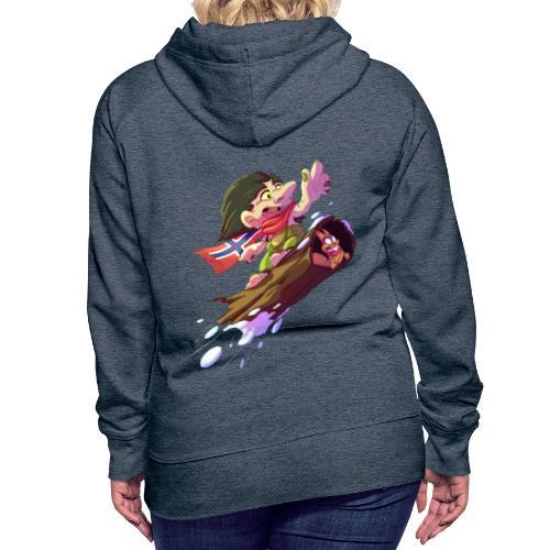 Troll snowboarder - Sweat-shirt à capuche Premium pour femmes