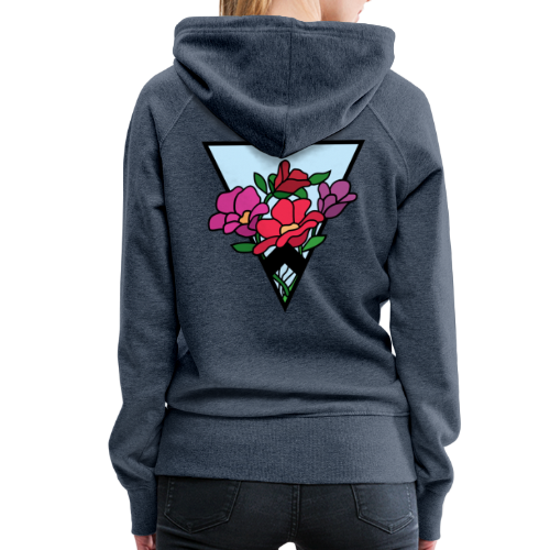 colourful flower bouquet in a triangle - Women's Premium Hoodie