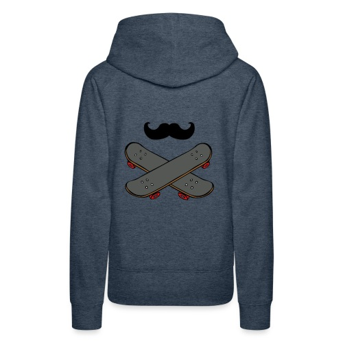 french moustache and skatboarding - Sweat-shirt à capuche Premium pour femmes