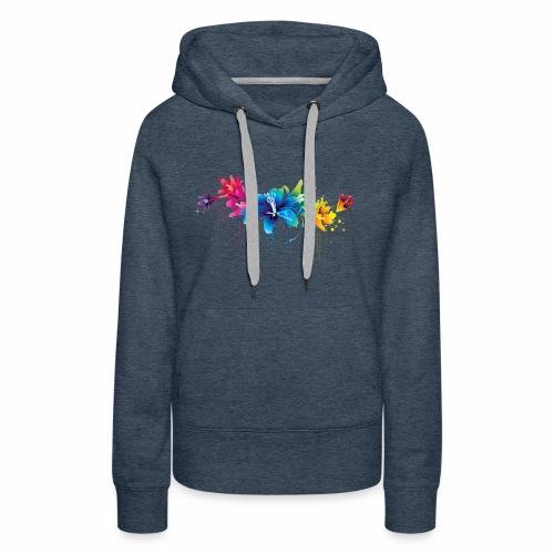 Flowers multicolor - Felpa con cappuccio premium da donna