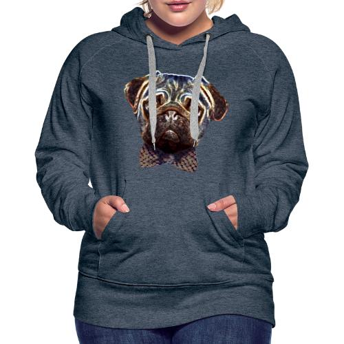Pug with bow tie - Women's Premium Hoodie