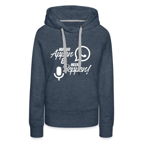 minder appen en meer beppen wit - Vrouwen Premium hoodie