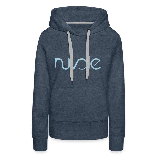 Nuvole - Logo esteso blu - Felpa con cappuccio premium da donna