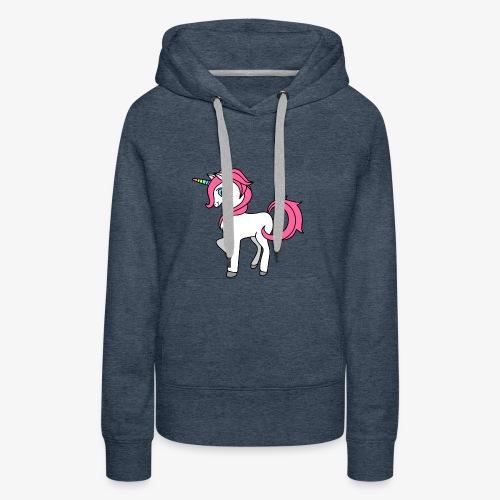 Süsses Einhorn mit rosa Mähne und Regenbogenhorn - Frauen Premium Hoodie