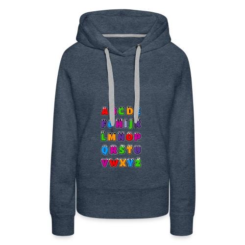 Letras del alfabeto Kawaii ABC para niños. Dibujos - Sudadera con capucha premium para mujer