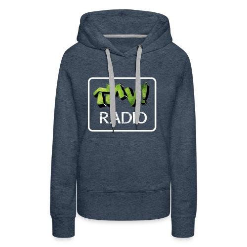 TMV RADIO logo bianco - Felpa con cappuccio premium da donna