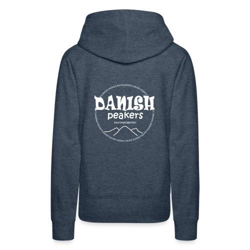hvid logo bag på - Dame Premium hættetrøje