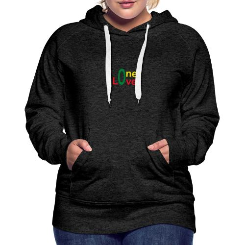 One love 01 Vert jaune rouge - rastafarie - Sweat-shirt à capuche Premium pour femmes