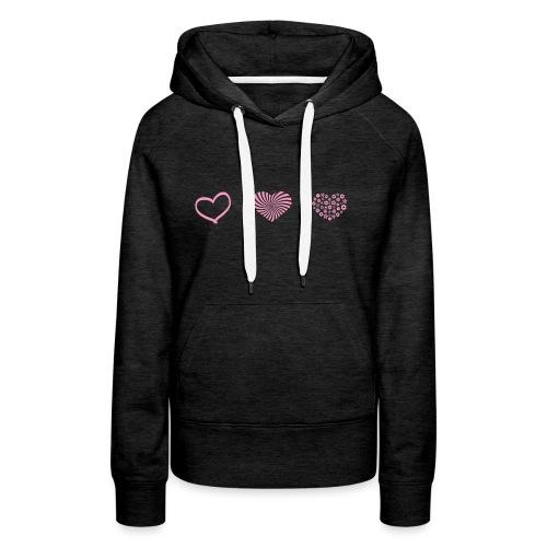 Rosa hjärtan söt motiv - Premiumluvtröja dam