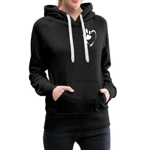 Pfote im Herz (weiß) - Frauen Premium Hoodie
