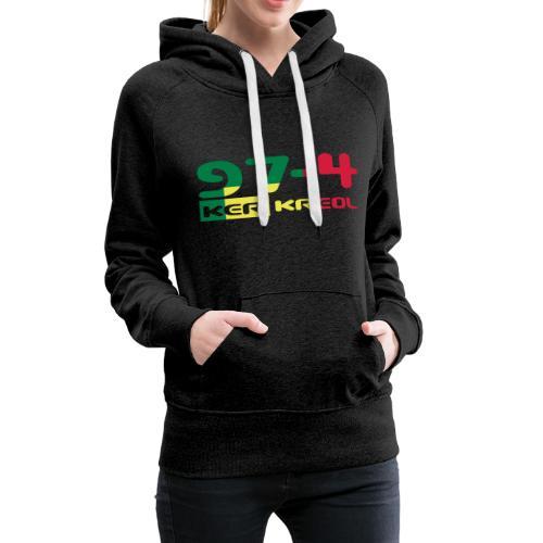Logo 974 ker kreol VJR, rastafari - Sweat-shirt à capuche Premium pour femmes