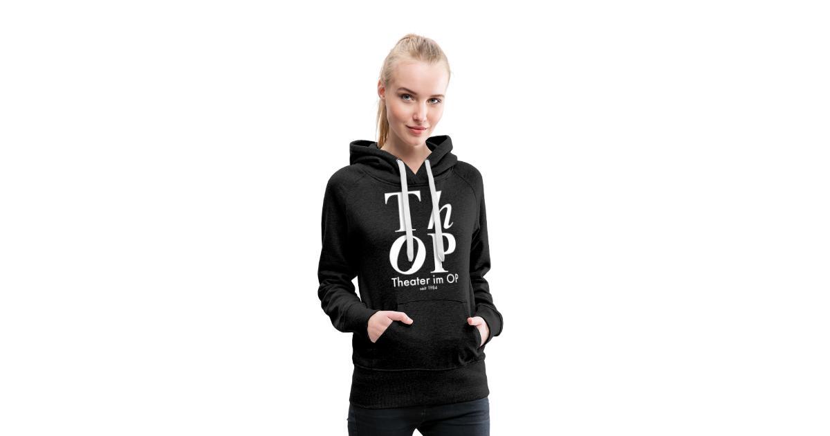 thop shop   Großes Logo WEISS Frauen Premium Hoodie