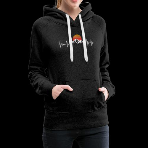Heartbeat Berge - Herzschlag Wanderer T-Shirt - Frauen Premium Hoodie