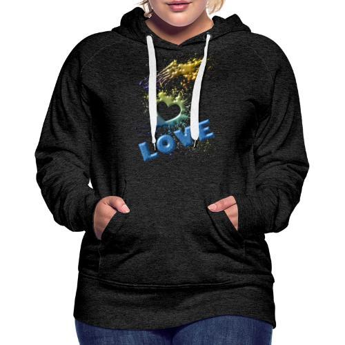 motif love - Sweat-shirt à capuche Premium pour femmes