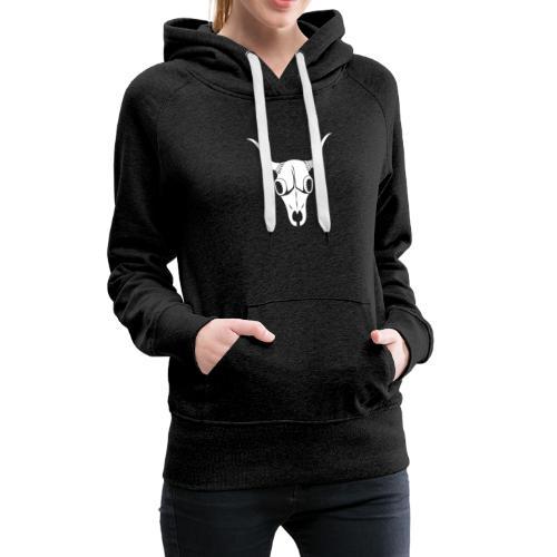 White Bufa Skull - Sweat-shirt à capuche Premium pour femmes