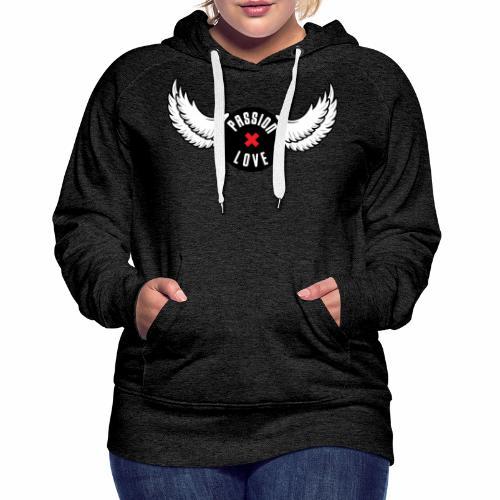 Passion x Love Black and white - Women's Premium Hoodie