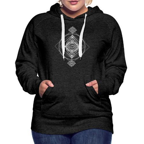 Logo ADN Géométrie Sacrée / Blanc - Sweat-shirt à capuche Premium pour femmes