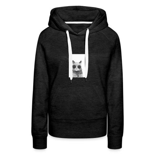 gato coool - Sudadera con capucha premium para mujer