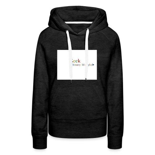 geek_life_style_google_font - Sudadera con capucha premium para mujer
