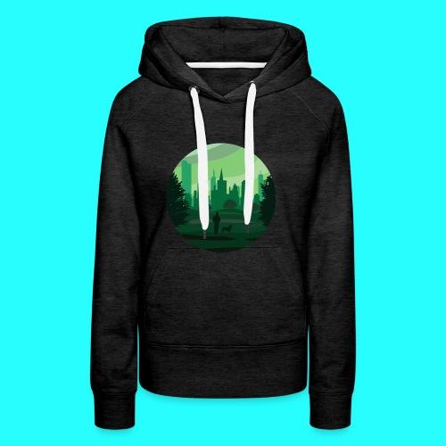 a green city - Felpa con cappuccio premium da donna