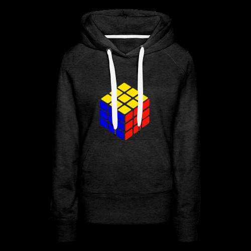 blue yellow red rubik's cube print - Vrouwen Premium hoodie