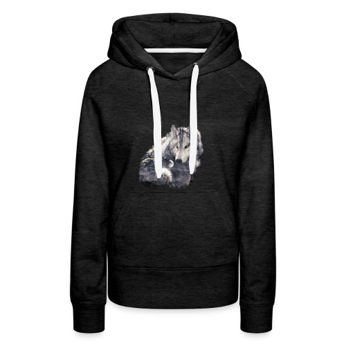 wolf and forest - Sudadera con capucha premium para mujer