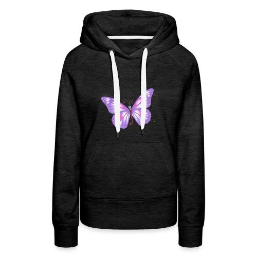 mariposa bb lila - Sudadera con capucha premium para mujer