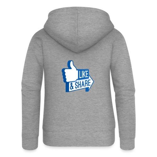 Like & Share (Facebook) - Felpa con zip premium da donna