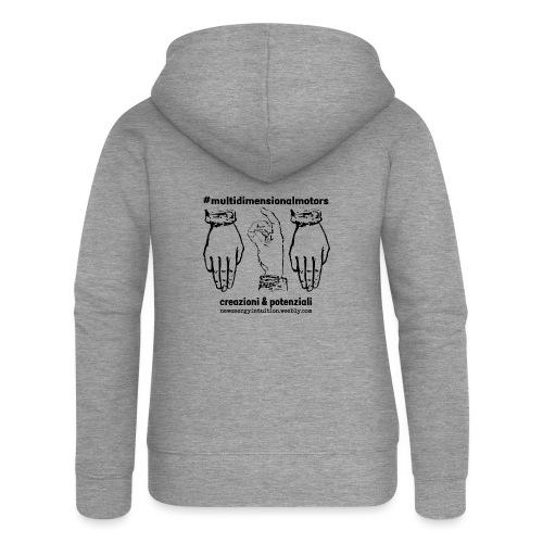 logo #MultiDimensionalMotors con segni mano - Felpa con zip premium da donna