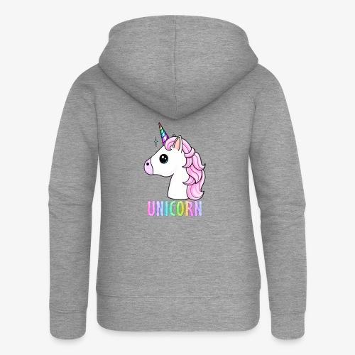 Unicorn - Felpa con zip premium da donna