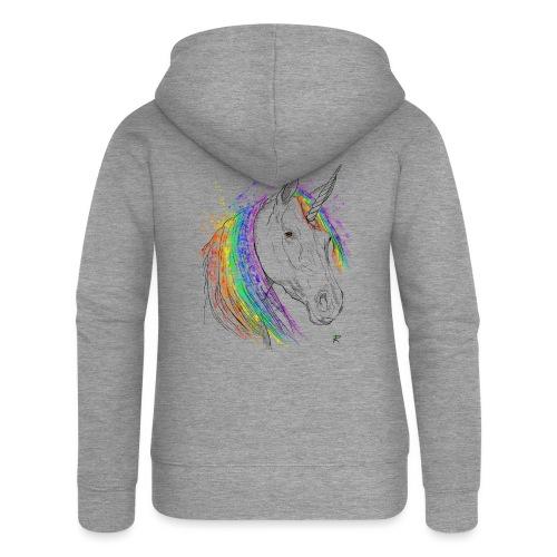 Unicorno - Felpa con zip premium da donna