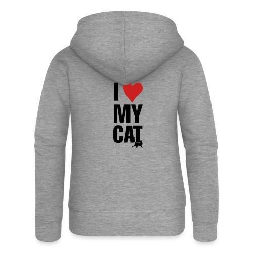 I_LOVE_MY_CAT-png - Chaqueta con capucha premium mujer
