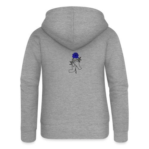 Fiore blu - Felpa con zip premium da donna