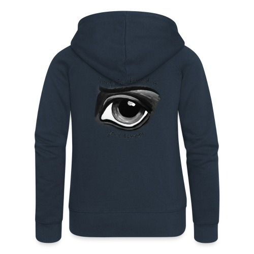EyeOpinionBigTextNEW copy png - Women's Premium Hooded Jacket