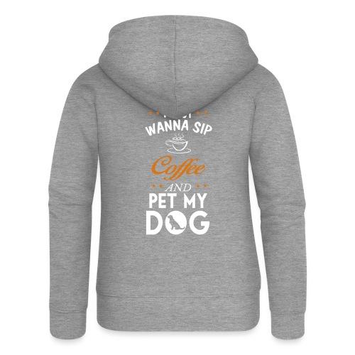 Kaffee trinken und Hunde streicheln - Happy! - Frauen Premium Kapuzenjacke
