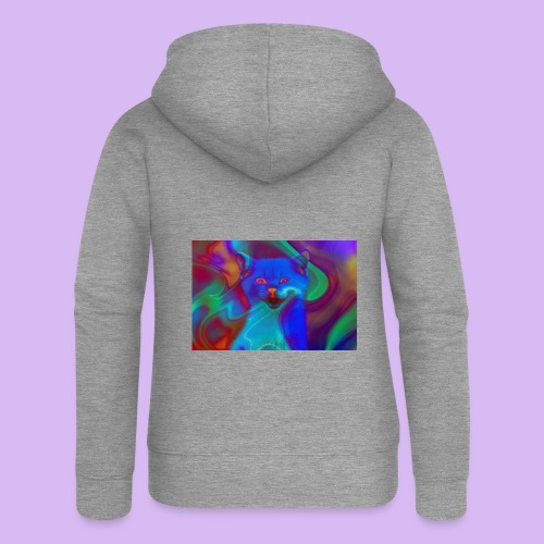 Gattino con effetti neon surreali - Felpa con zip premium da donna