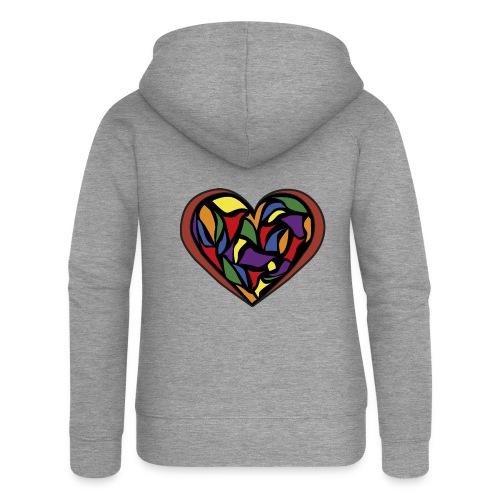 cuore di vetro - Felpa con zip premium da donna