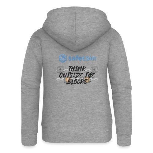 SafeCoin; Think Outside the Blocks (black + blue) - Women's Premium Hooded Jacket