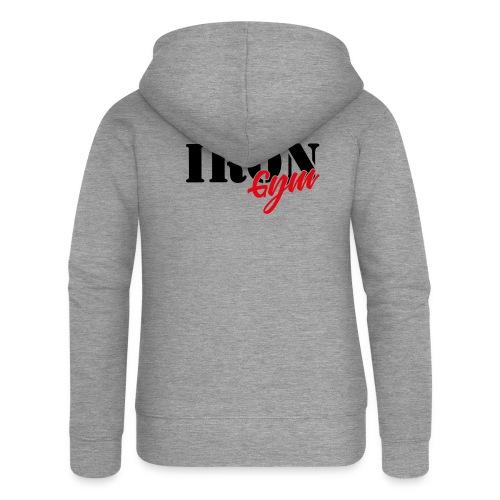 iron gym logo black - Chaqueta con capucha premium mujer