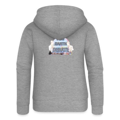 Flat Earth Debate Cartoon - Women's Premium Hooded Jacket