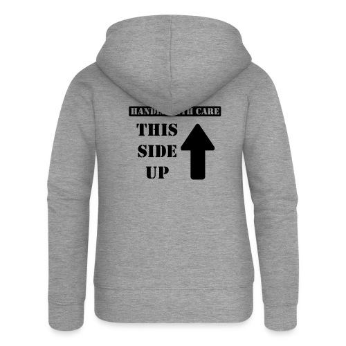 Handle with care / This side up - PrintShirt.at - Frauen Premium Kapuzenjacke
