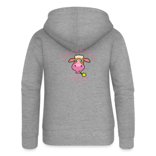 positive cow pink - Felpa con zip premium da donna