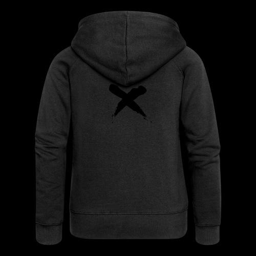 x - Felpa con zip premium da donna